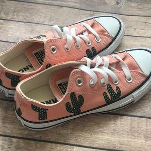 Converse Shoes - Cactus hand painted converse women's size 5